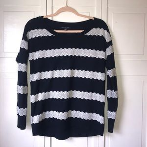 AEO Navy & White Lace Striped Sweater, size Small